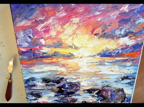 """Seascape Oil Painting Demo """"Evening at the Beach"""" - YouTube"""